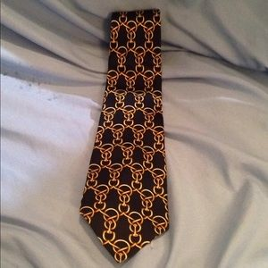 Fendi silk men's necktie Tie gold linking chains